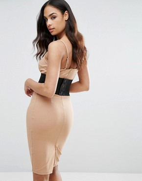 photo Midi Dress with Detachable Corset Belt by NaaNaa, color Taupe - Image 2