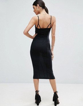 photo Seam Detail Cami Midi Bodycon Dress by ASOS, color Black - Image 2