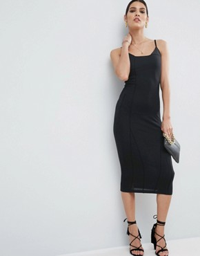 photo Seam Detail Cami Midi Bodycon Dress by ASOS, color Black - Image 1