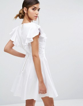 photo Cotton Mini Skater Dress with Frill by Closet London, color White - Image 2