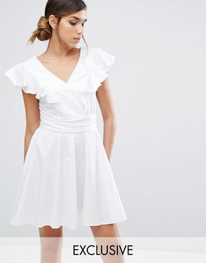 photo Cotton Mini Skater Dress with Frill by Closet London, color White - Image 1