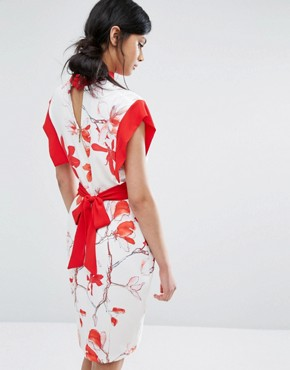 photo Printed Midi Dress with Contrast Panel and Tie Back by Closet London, color  - Image 2