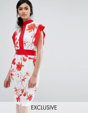 photo Printed Midi Dress with Contrast Panel and Tie Back by Closet London, color  - Image 1