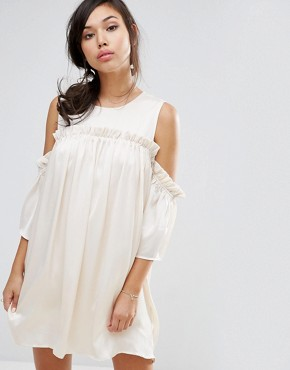 photo Cold Shoulder Dress with Frill by Fashion Union, color Beige - Image 1
