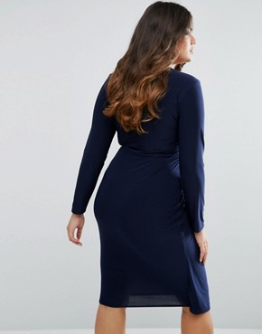 photo Knot Front Dress by Club L Plus, color Navy - Image 2