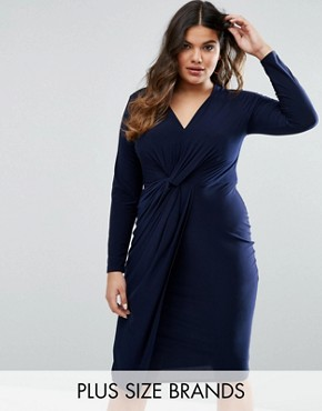 photo Knot Front Dress by Club L Plus, color Navy - Image 1
