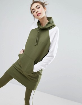 photo Colourblock Sweat Dress by Monki, color Khaki - Image 1