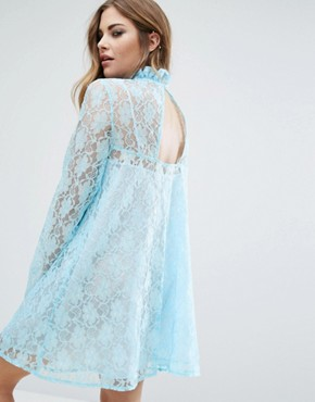 photo Lace Dress With Patch by Reclaimed Vintage, color Blue - Image 2