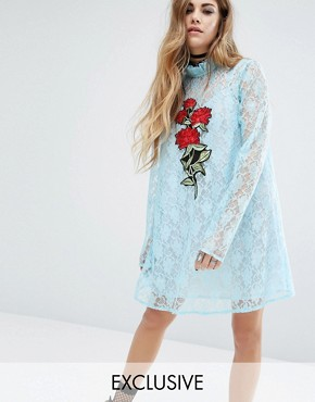 photo Lace Dress With Patch by Reclaimed Vintage, color Blue - Image 1
