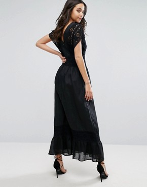 photo Plateau Maxi Dress with Lace Detailing by Stevie May, color Black - Image 2