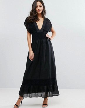 photo Plateau Maxi Dress with Lace Detailing by Stevie May, color Black - Image 1