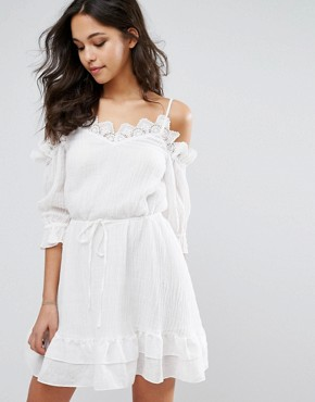 photo Fantasy Mini Dress with Cold Shoulder by Stevie May, color White - Image 1