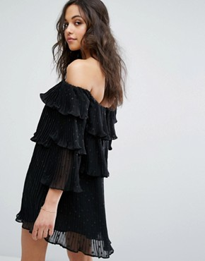 photo Mercury Flounce Off Shoulder Dress with Ruffles by Stevie May, color Black - Image 2