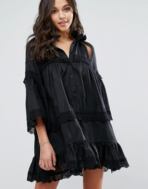 photo Dark Shadow Dress with Cut Outs and Ruffle Detailing by Stevie May, color Black - Image 1