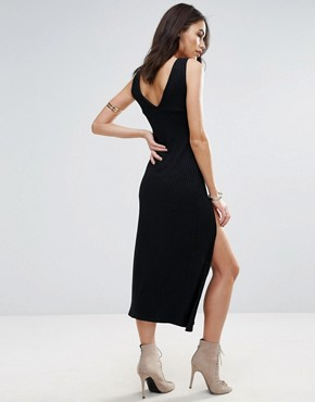 photo Lace Up Front Slip Dress by Jovonna, color Black - Image 2