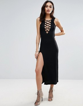 photo Lace Up Front Slip Dress by Jovonna, color Black - Image 1