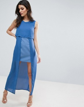 photo Icing On The Cake Two Layer Maxi Dress by Jovonna, color Blue - Image 1