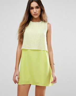 photo Girl Gang Shift Dress with Overlay Top by Jovonna, color Yellow - Image 1