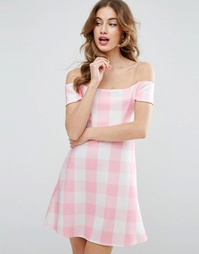 photo Gingham Off The Shoulder Bardot Shift Mini Dress by ASOS, color Pink - Image 1