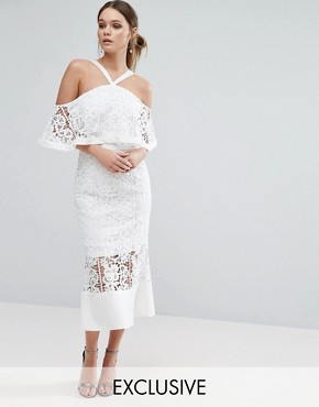 photo Frill Layer Cold Shoulder Lace Midi Dress by Jarlo, color Ivory - Image 1