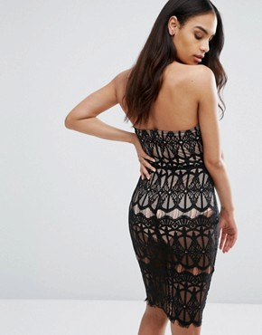 photo Sheer Lace Pencil Dress with Bust Cup Detail by Rare London, color Black/Nude - Image 2