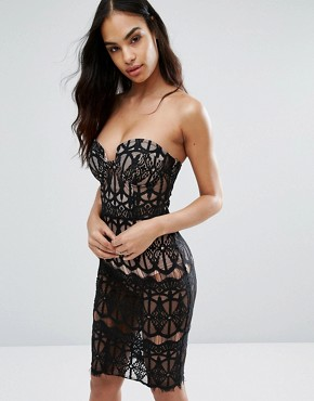 photo Sheer Lace Pencil Dress with Bust Cup Detail by Rare London, color Black/Nude - Image 1