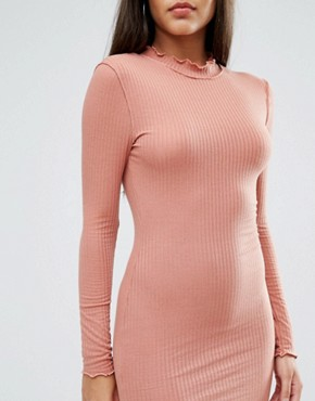 photo Frill Edge Bodycon Dress by Missguided, color Pink - Image 3
