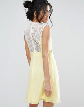 photo Sweetheart Skater Dress with Embellished Waist by Elise Ryan, color Yellow - Image 2