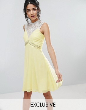 photo Sweetheart Skater Dress with Embellished Waist by Elise Ryan, color Yellow - Image 1