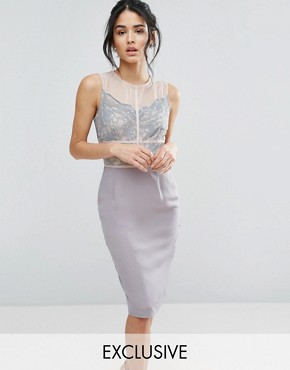 photo Scallop Lace Pencil Dress with Contrast Panelling by Elise Ryan, color Grey/Nude - Image 1