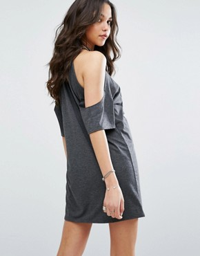 photo Band Print Cold Shoulder T-Shirt Dress by Missguided, color Grey - Image 2