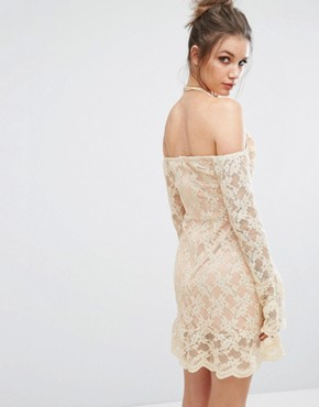 photo Cold Shoulder Lace Overlay Dress by Missguided, color Nude - Image 2