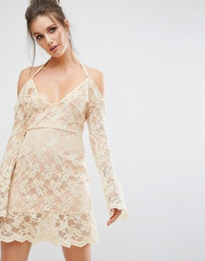 photo Cold Shoulder Lace Overlay Dress by Missguided, color Nude - Image 1