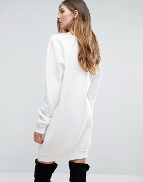 photo Raw Edge Oversized Jumper Dress by Missguided Tall, color Cream - Image 2