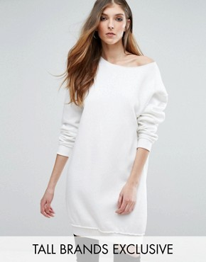 photo Raw Edge Oversized Jumper Dress by Missguided Tall, color Cream - Image 1