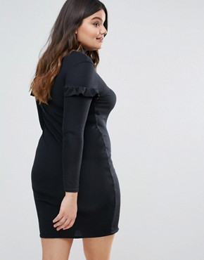 photo Frill Sleeve Ribbed Bodycon Dress by Missguided Plus, color Black - Image 2