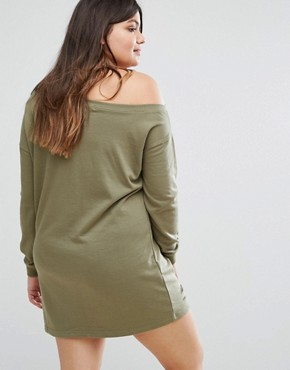 photo Distressed Sweater Dress by Missguided Plus, color Khaki - Image 2