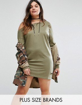 photo Distressed Sweater Dress by Missguided Plus, color Khaki - Image 1