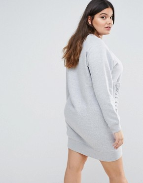 photo Eyelet Lace Detail Sweater Dress by Missguided Plus, color Grey - Image 2