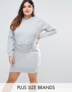 photo Eyelet Lace Detail Sweater Dress by Missguided Plus, color Grey - Image 1
