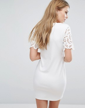 photo Macrame Jersey Dress by French Connection, color Summer White - Image 2