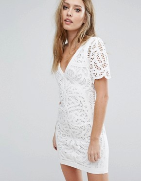 photo Macrame Jersey Dress by French Connection, color Summer White - Image 1