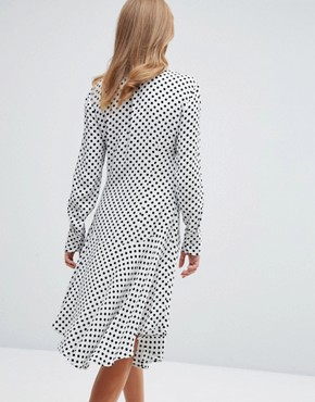 photo Pussy Bow Midi Shirt Dress by Millie Mackintosh, color White/Black - Image 2