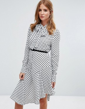photo Pussy Bow Midi Shirt Dress by Millie Mackintosh, color White/Black - Image 1