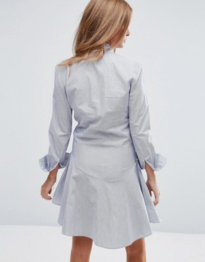 photo Pussy Bow Mini Shirt Dress by Millie Mackintosh, color Navy/White - Image 2