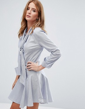 photo Pussy Bow Mini Shirt Dress by Millie Mackintosh, color Navy/White - Image 1