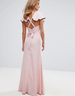 photo Ruffle Strap Maxi Dress by Millie Mackintosh, color Dusty Pink - Image 2