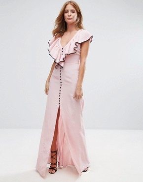 photo Ruffle Strap Maxi Dress by Millie Mackintosh, color Dusty Pink - Image 1