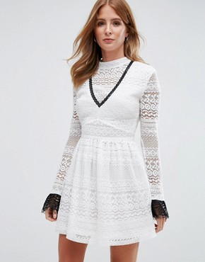 photo High Neck Lace Skater Dress by Millie Mackintosh, color Off White/Black - Image 1