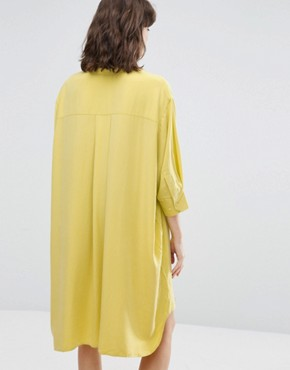 photo Cupro Peachey Feel Shirt Dress by Weekday, color Yellow - Image 2